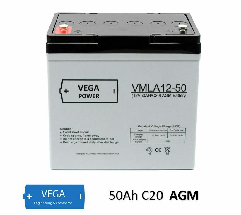12V 50Ah C20 AGM Batterie Akku Vega Power