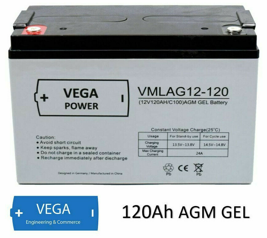 12V 120Ah AGM Batterie Akku Vega Power