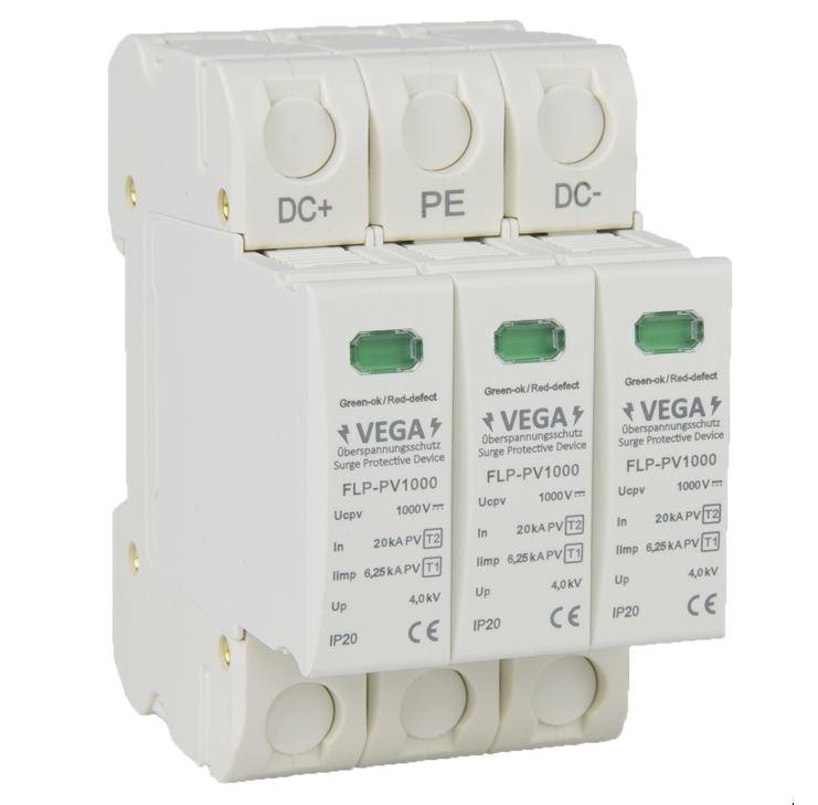 Blitz - Überspannungsschutz  DC Photovoltaik PV, 1000V, Kombi, Imax 40kA Iimp 6,25kA, 3 Pole, T2 T1