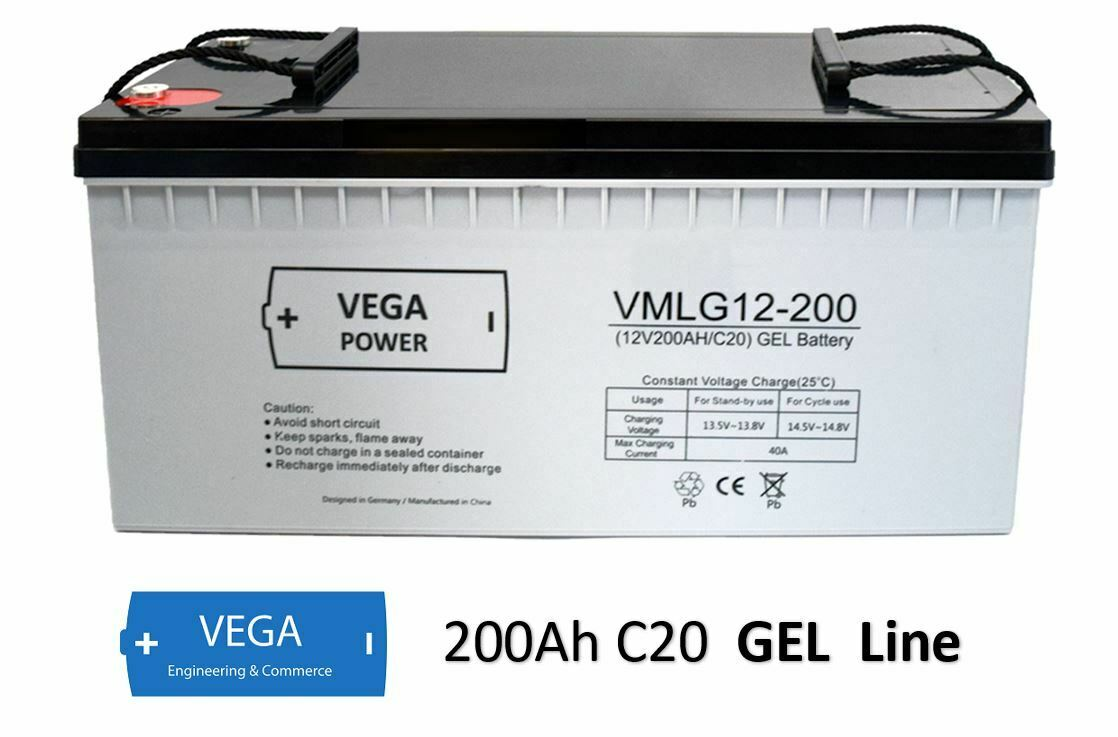 12V 200Ah C20 GEL Batterie Akku Vega Power
