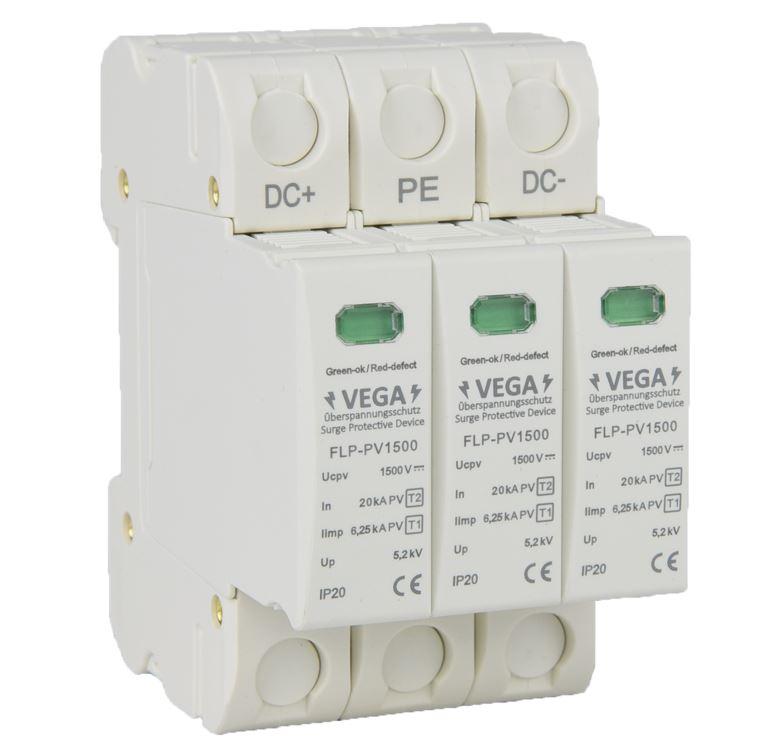 Blitz - Überspannungsschutz  DC Photovoltaik PV, 1500V, Kombi, Imax 40kA Iimp 6,25kA, 3 Pole, T2 T1