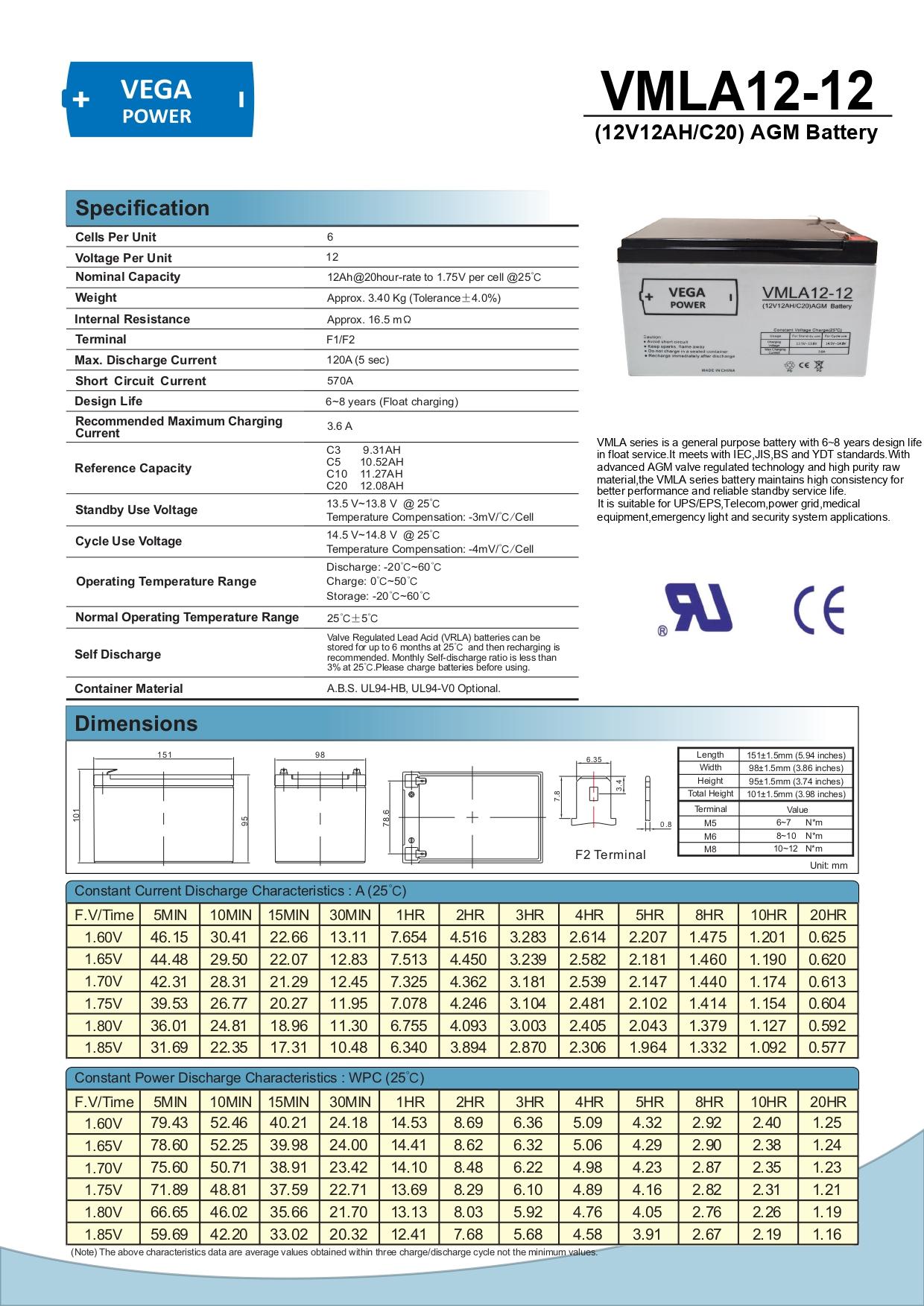 12V 12Ah C20 AGM Batterie Akku Vega Power