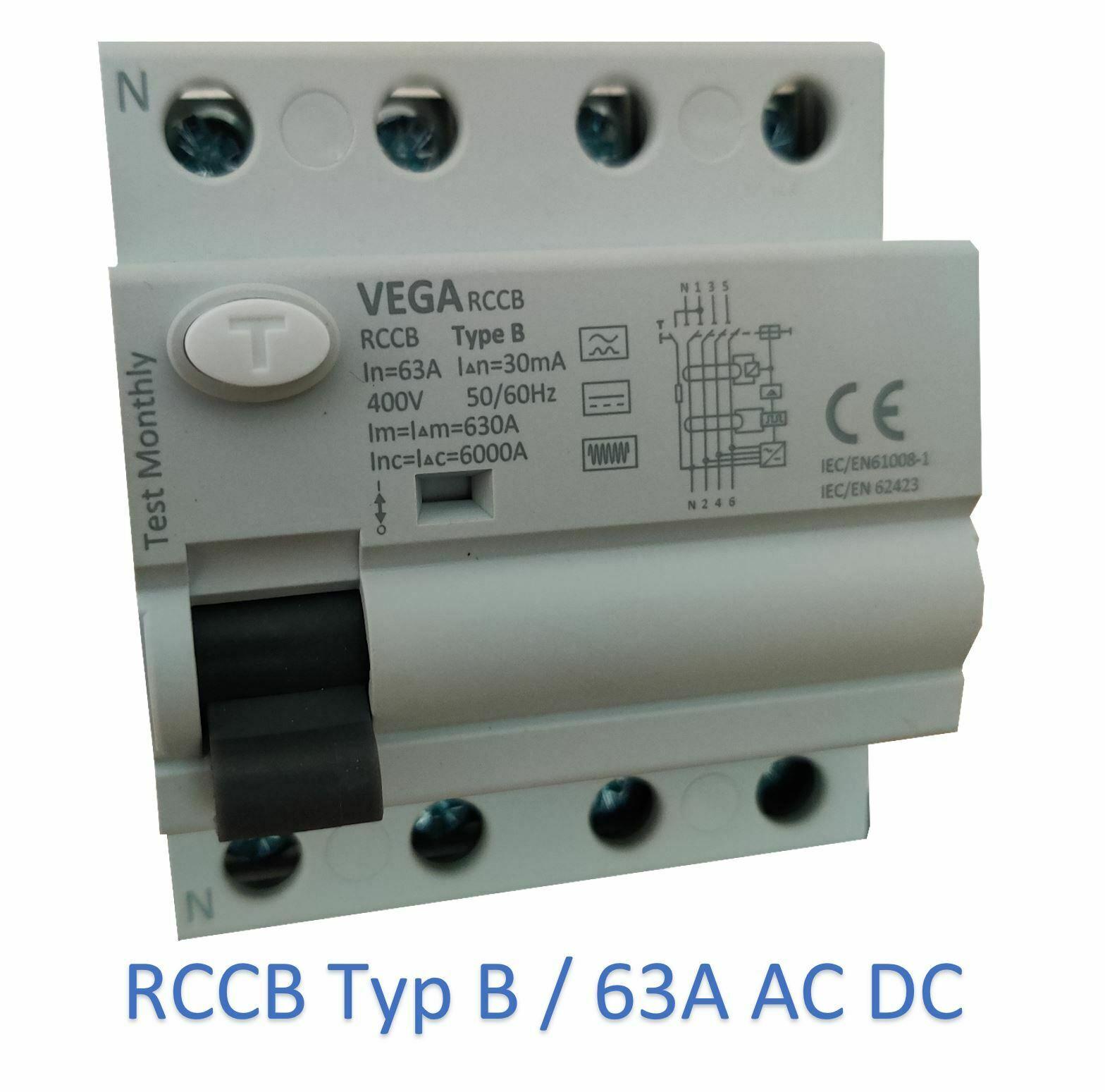 Vega RCCB FI Fehlerstromschutzschalter 63A 4-pol. Typ B Elektroauto PV Anlage