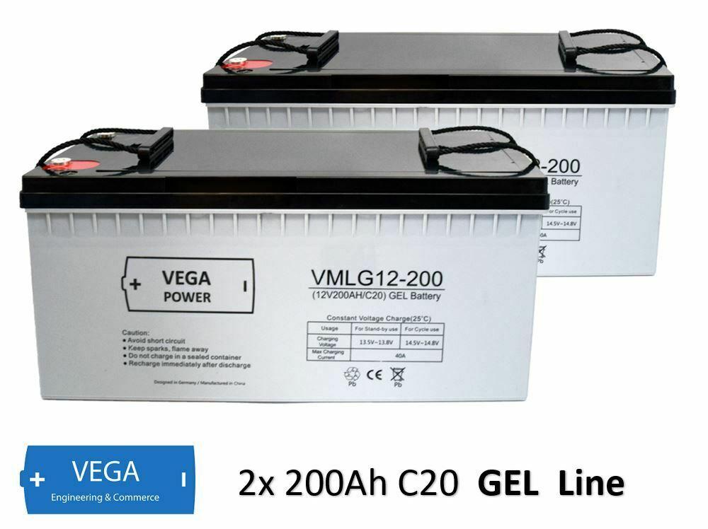 2 Stück 12V 200Ah C20 GEL Batterie Akku Vega Power