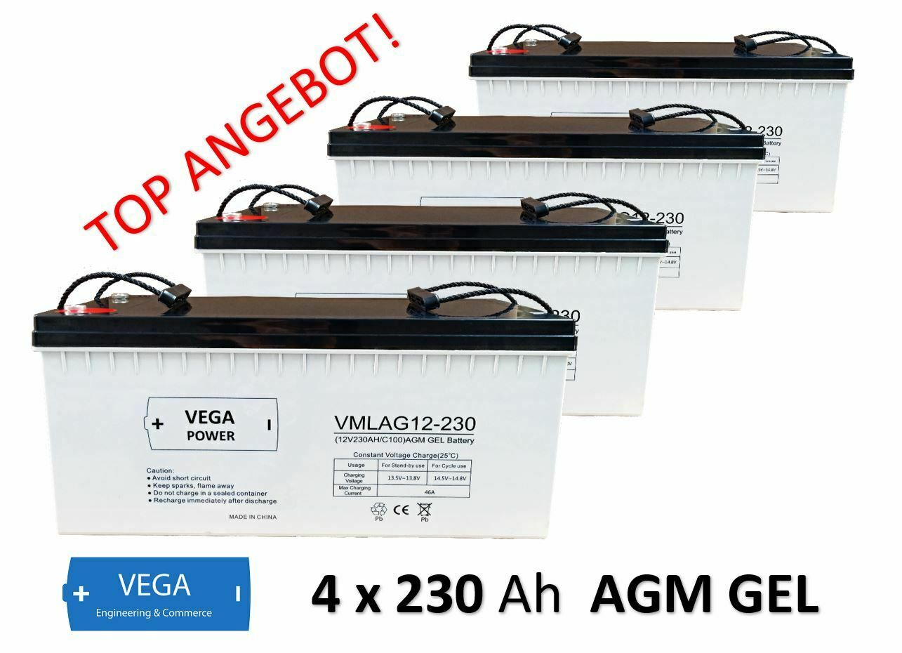 4 Stück 12V 230Ah C100 AGM GEL Batterie Akku Vega Power