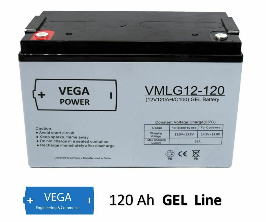 12V 120Ah C100 GEL Batterie Akku Vega Power