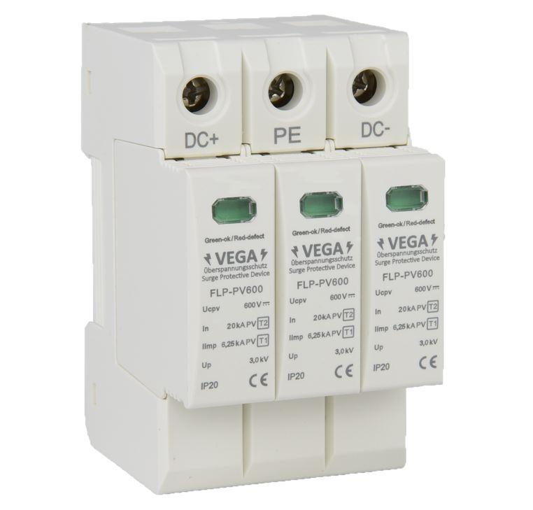 Blitz - Überspannungsschutz  DC Photovoltaik PV, 600V, Kombi, Imax 40kA Iimp 6,25kA, 3 Pole, T2 T1