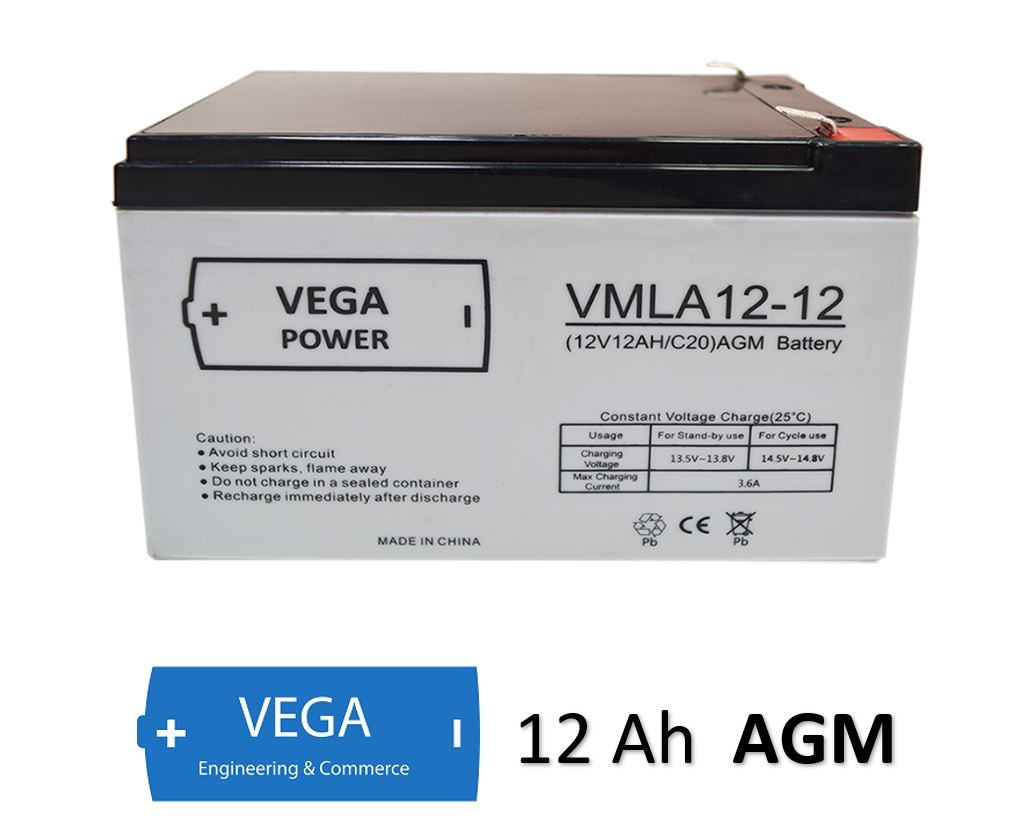 12V 12Ah C20 AGM Batterie Akku Vega Power