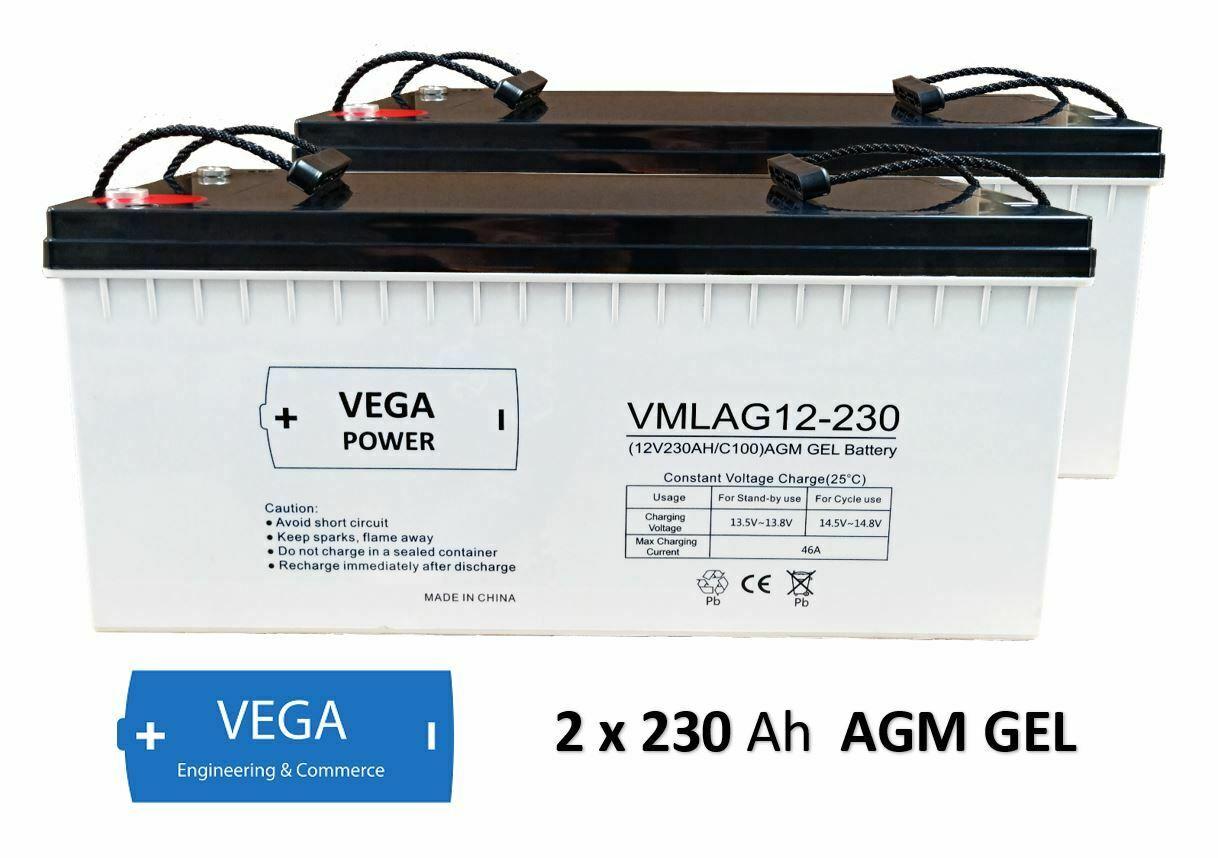 2 Stück 12V 230Ah C100 AGM GEL Batterie Akku Vega Power
