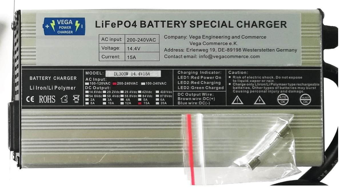 Vega Power Charger - 15A 12,8V  Batterieladegerät  Lithium LiFePO4
