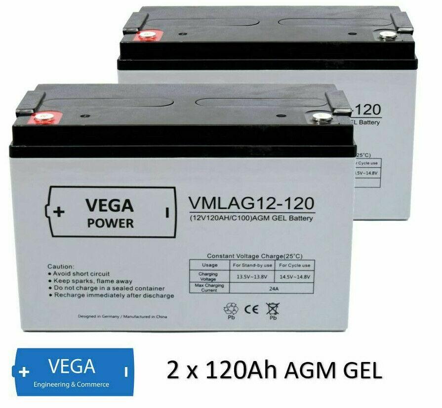 2 Stück 12V 120Ah AGM Batterie Akku Vega Power