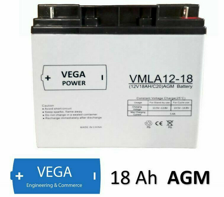 12V 18Ah C20 AGM Batterie Akku Vega Power